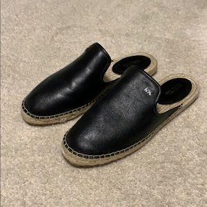 NWOT Michael Kors black leather espadrille mules
